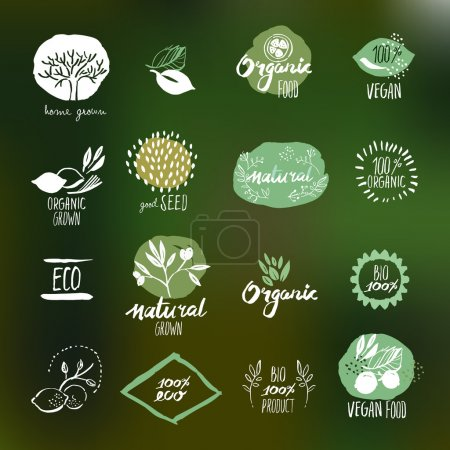 Set of hand drawn style stickers and badges for organic food and drink