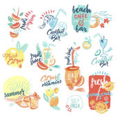 Set of hand drawn watercolor signs and labels of fresh fruit juice and drinks