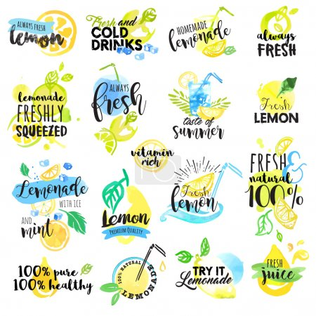Illustration for Set of hand drawn watercolor labels and signs of lemon and lemonade. Vector illustrations for graphic and web design, for restaurant and bar, menu. - Royalty Free Image