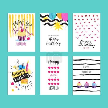 Illustration pour Ensemble d'illustrations à l'aquarelle dessinées à la main pour cartes de vœux d'anniversaire, invitations de fête d'anniversaire, bannières de site Web d'anniversaire, matériel de célébration d'anniversaire . - image libre de droit
