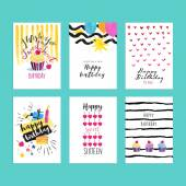 Set of hand drawn watercolor illustrations for birthday greeting cards