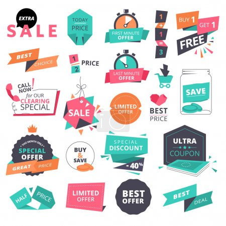 Illustration for Set of flat design style badges and elements for shopping. Vector illustrations for website and mobile website, product promotion, sale banner template, ads, coupons, print material. - Royalty Free Image