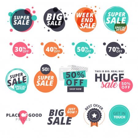 Illustration for Set of flat design sale stickers. Vector illustrations for online shopping, product promotions, website and mobile website badges, ads, print material. - Royalty Free Image