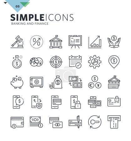 Illustration pour Premium collection de symboles de contour de qualité pour le web et la conception graphique, application mobile. Pictogrammes, infographies et éléments web mono-linéaires . - image libre de droit
