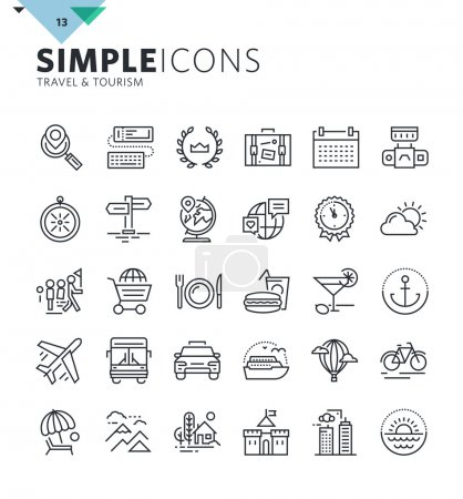 Illustration for Premium quality outline symbol collection for web and graphic design, mobile app. Mono linear pictograms, infographics and web elements pack. - Royalty Free Image
