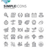 Modern thin line icons of travel and tourism