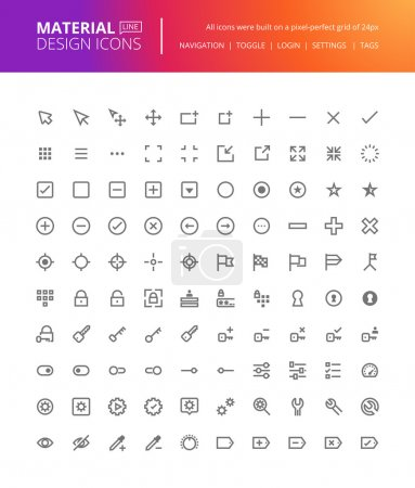 Material design icons set. Thin line pixel perfect icons for navigation, settings, buttons and toggles.