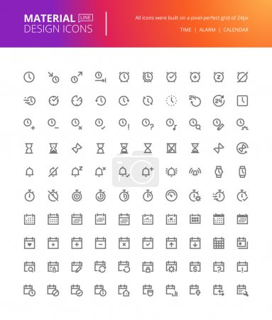 Material design icons set. Thin line pixel perfect icons for contact, communication, social media, networking.