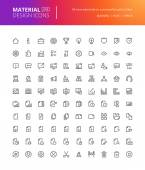 Material design icons set Thin line pixel perfect icons of basic business essential tools file management