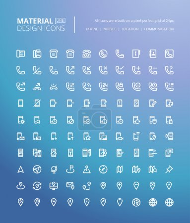 Set of material design line icons