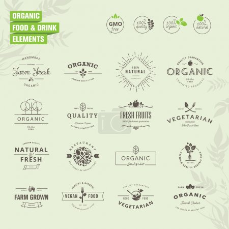 Illustration for Set of elements for labels and badges for organic food and drink, restaurant, food market - Royalty Free Image