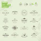 Set of elements for labels and badges for organic food and drink restaurant food market