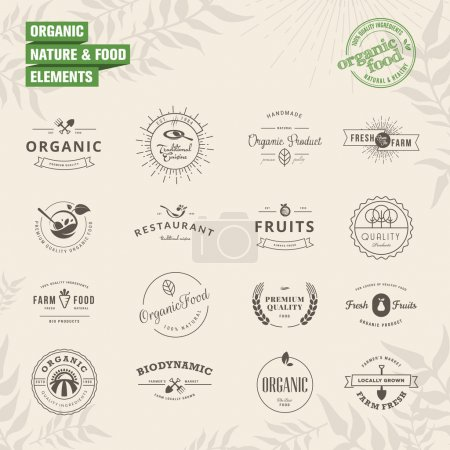Illustration for Set of elements for labels and badges for natural food and drink, organic products, biodynamic agriculture - Royalty Free Image