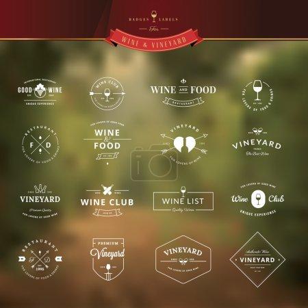 Illustration pour Ensemble de badges et éléments d'étiquettes pour le vin - image libre de droit