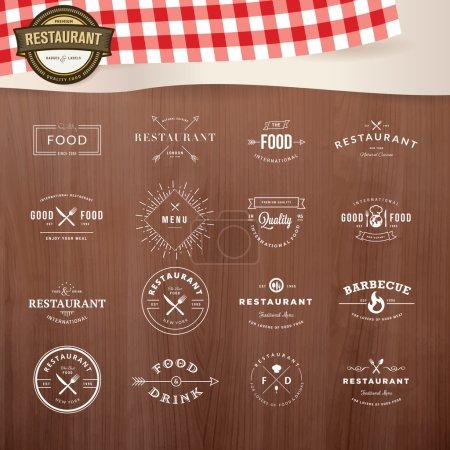 Photo pour Ensemble d'insignes et d'éléments d'étiquettes pour restaurant - image libre de droit