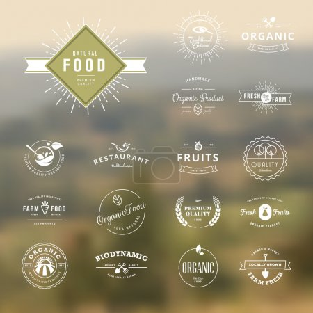 Illustration for Set of badges and labels elements for organic nature and food - Royalty Free Image