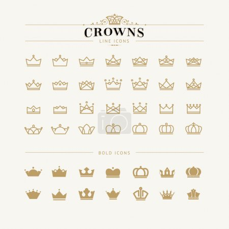 Set of vector crown line and bold icons...