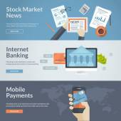 Set of flat design concepts for stock market news internet banking and mobile payments Concepts for web banners and printed materials