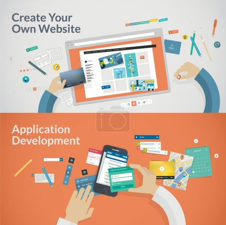 Illustration for Set of flat design concepts for websites and applications development. Concepts for web banners and printed materials - Royalty Free Image