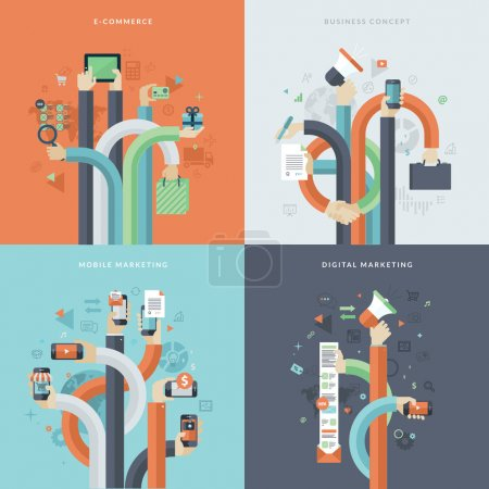 Illustration for Icons for online commerce, mobile marketing, business and digital marketing. Concepts for web and mobile phone services and apps - Royalty Free Image