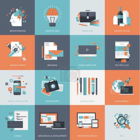 Illustration for Icons for website development and mobile phone services and apps - Royalty Free Image