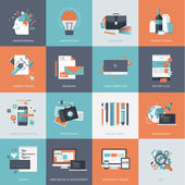 Set of flat design concept icons for website development graphic design branding seo web and mobile apps development marketing and e-commerce