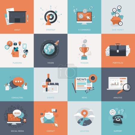 Illustration pour Icônes pour le développement de sites Web et de services et applications de téléphonie mobile - image libre de droit