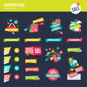 Set of flat design badges and labels for shopping
