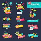 Sada plochý design odznaky a stuhy pro nákupy