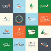 Set of flat design elements for Christmas and New Year greeting cards labels badges and printed materials