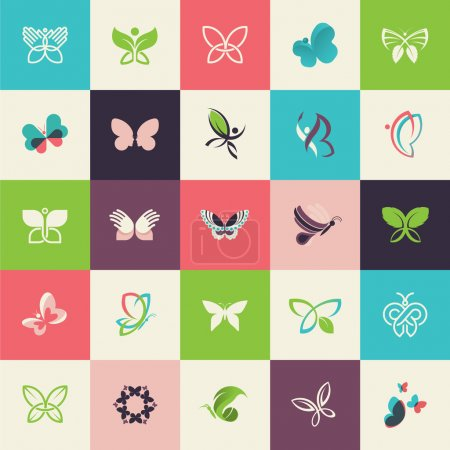 Set of flat design butterfly icons