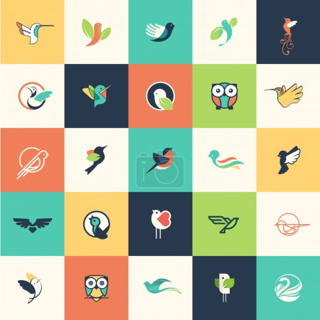 Illustration for Set of flat design bird icons for websites, print and promotional materials, web and mobile services and apps icons, for cosmetics, healthcare, beauty, fashion, travel, spa, wellness, natural product. - Royalty Free Image