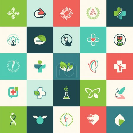 Illustration for Set of flat design nature and beauty icons for websites, print and promotional materials, web and mobile services and apps icons, for medicine, healthcare, spa, cosmetics, wellness, natural product, healthy life. - Royalty Free Image