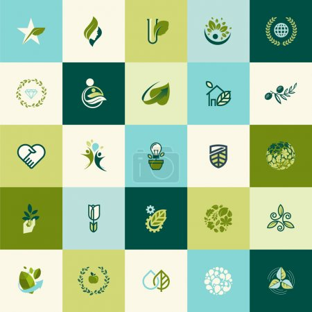 Illustration for Set of flat design nature icons for websites, print and promotional materials, web and mobile services and apps icons, for food and drink, healthcare, spa, cosmetics, wellness, natural organic product, healthy life, green technology. - Royalty Free Image