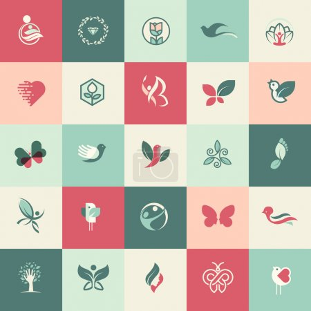 Illustration for Set of flat design beauty and healthcare icons for websites, print and promotional materials, web and mobile services and apps icons, for aesthetic medicine, healthcare, spa, cosmetics, wellness, natural product, healthy life. - Royalty Free Image