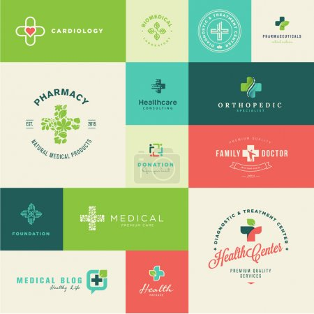 Illustration for Set of modern flat design medical and healthcare icons for health center, pharmacy, medical clinics, medical blog, foundation - Royalty Free Image