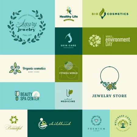 Illustration for Set of modern flat design nature and beauty icons for cosmetics, jewelry, healthy life, wellness, medicine - Royalty Free Image