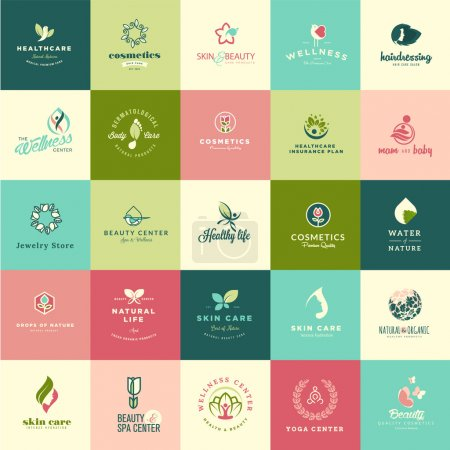 Illustration for Set of flat design beauty and nature icons for natural products, cosmetics, healthcare, beauty center, spa and wellness - Royalty Free Image