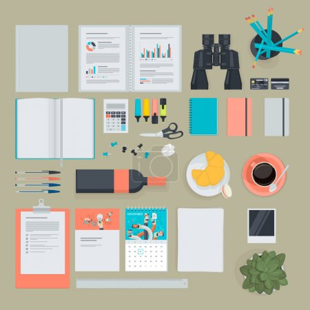 Set of flat design items for business, finance, marketing