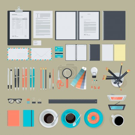 Set of flat design items for business, finance, marketing, graphic design development, project management