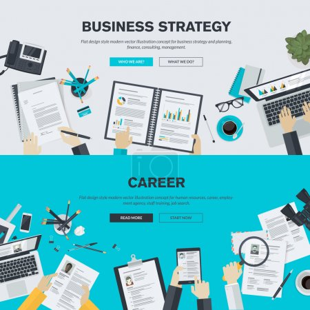 Flat design illustration concepts for business, finance, consulting, management, human resources, career, employment agency, staff training