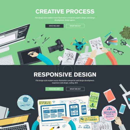 Flat design illustration concepts for creative process, graphic design, web design development, responsive web design, coding, SEO, design agency
