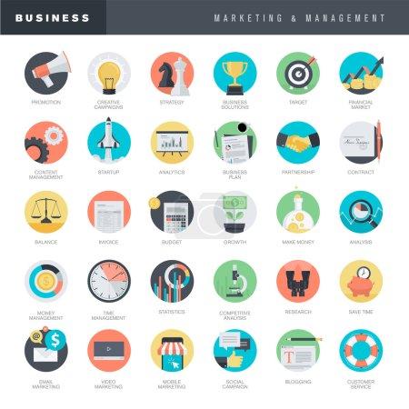 Illustration pour Ensemble d'icônes de vecteur de conception plate pour l'entreprise et le marketing - image libre de droit