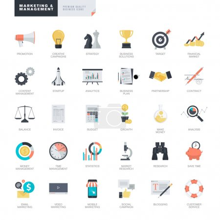 Set of modern flat design business and marketing icons for graphic and web designers