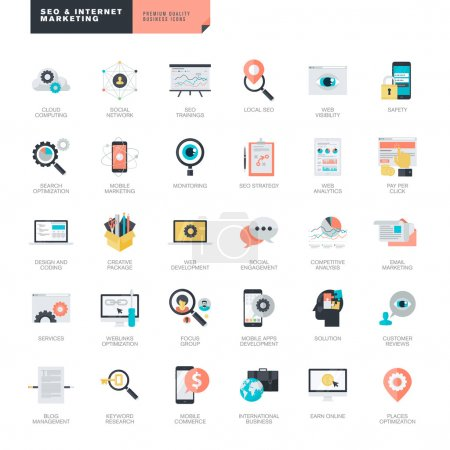 Illustration for Set of flat design vector icons for SEO and internet marketing - Royalty Free Image