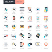 Set of flat design vector icons for SEO and internet marketing