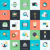 Set of flat design style concept icons for graphic and web design Icons for finance banking m-banking business investment marketing e-commerce