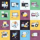 Flat design style concept icons on the topic of graphic design logo design website design and development responsive design app development SEO digital marketing project management