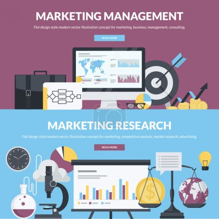 Set of flat design style concepts for marketing, business, management, consulting, market research, competitive analysis, advertising
