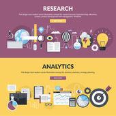 Sada plochý design stylu konceptů pro výzkumný proces, pracovní režim, vývoj produktů a řízení, podnikání, analytics, strategie, plánování